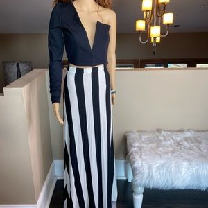 BEBE Vertical Rugby Striped Maxi Skirt